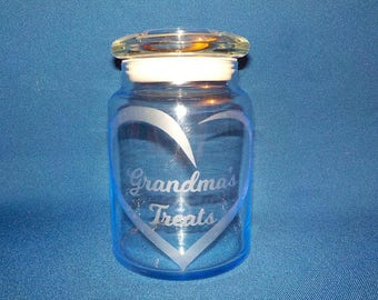 Grandma's Treats Candy Jar, Heart, Etched Glass, Airtight Lid, FREE SHIPPING