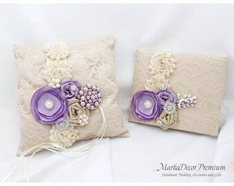 Set of 2 Wedding Bridal Handmade Lace Ring Pillow and Guest Book Custom Bridal Bearer Brooch Flower Pillow in Champagne Ivory Lavender Tan