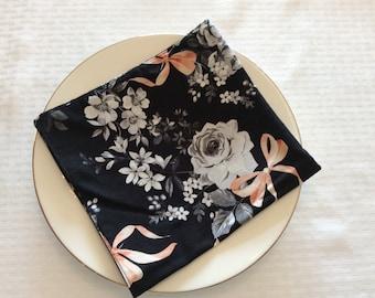 Black, White & Coral Floral Napkins Set of 2 - Floral Table Linens - Print Reversible Cloth Napkins - Floral Cloth Napkins