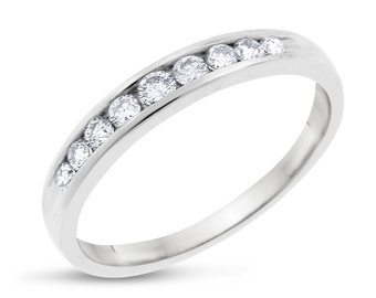 0.30 CT Natural Nine Diamond Wedding Band in Solid 14k White Gold