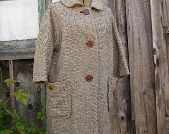 Vintage//Mid Century//Wool Tweed//Women's Coat//3/4 Sleeves