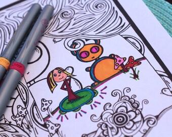 Kids Adult Printable Coloring Page Monster Character Doodle Story Original Art Digital Download #2