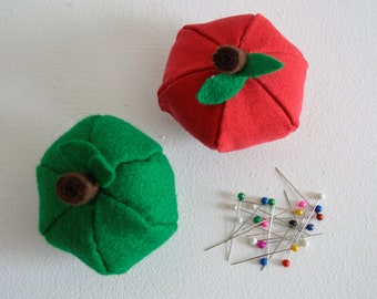 Pin cushion, novelty pin cushions in the shape of an apple, choose from a red or green apple made from felt, quirky apple pin cushions.