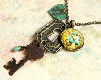 Vintaj Key Necklace,Butterfly Necklace,Vintage Heart Necklace,Lock and Key Necklace,Keyhole