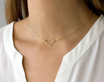 Hammered Gold Heart Necklace, Dainty Heart Necklace, Heart Choker, 14k Gold Fill, Sterling Silver, Gift for her, LEILAjewelryshop, N200