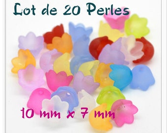 Set of 20 bead caps real 10 mm x 7 mm frosted acrylic flowers