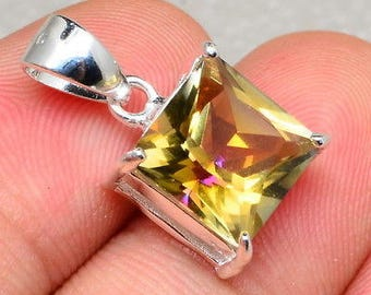 Faceted / Yellow/ Rainbow Topaz/    10x10mm  /Gemstone /  925  Sterling Silver Pendant  / Gift/ Beaded Chain is Included
