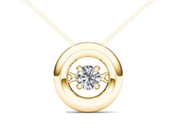 10Kt Yellow Gold 0.10 Ct Diamond In Motion Pendant