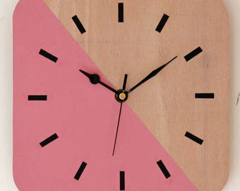NEW 23cm Pink Wall Clock - Modern Style Vibrant Wooden