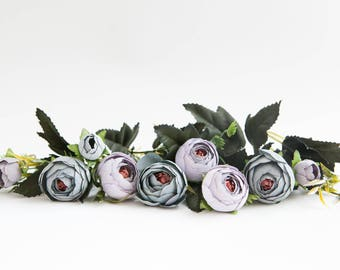 9 Small Mini Vintage Inspired Ranunculus in Antique Lavender and Blue Gray plus foliage- silk artificial flower - ITEM 01209