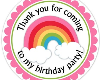 Rainbow Birthday Labels, Rainbow Stickers, Birthday Decoration, Personalized Children Stickers