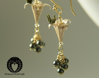 Micro origami crane on lily earrings - beige lilies and baby khaki green cranes with Swarovski pearls