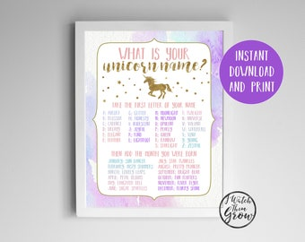 "Unicorn Name Game, Unicorn Party Game, Printable ""What's Your Unicorn Name"" Birthday Party Poster, 8x10 PDF INSTANT DOWNLOAD"