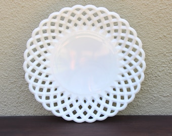 Lattice Milk Glass Fruit Bowl Plate