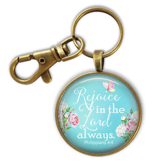 Catholic Keychain Gift - Scripture Key chain, Bible Verse Gift, Catholic Gift - Rejoice in the Lord always! Phil 4:4