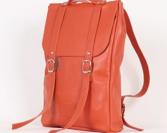 SALE! / Pumpkin red middle size leather backpack rucksack / To order / Leather Backpack / Leather rucksack / Womens backpack / Gift