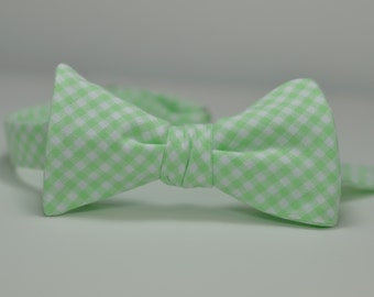 Mint Bow Tie, Mint Bowtie, Mens Bow Tie, Mens Bowties, Mint Bow Tie, Gingham Bow Tie, Wedding Bow Tie, Groomsmen Bow Ties, Mint Gingham