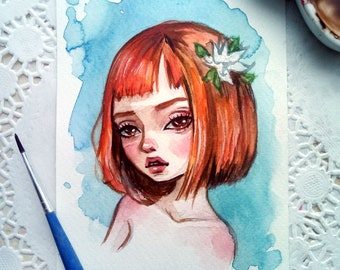 Original watercolor art in the format of a postcard. Little red-haired girl.