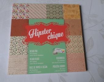 x 1 block of 30 paper scrapbooking patterned chic 15 x 15 cm