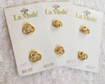 Gold and Crystal Flower Shaped Shank Buttons, Classic Vintage Buttons