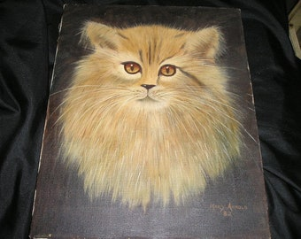 """Vintage Outsider Art.Sweet Tiger Kitty/Cat Portrait Oil on Canvas 14x11""""."""