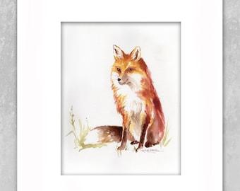 Children Art Red Fox Wildlife Forest Nursery Art Original 10 in x 8 in Watercolor Painting - Plus Custom 14 in x 11 in White Matting