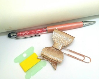 Bow Planner Clip-Rose Gold-Leatherette