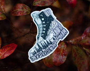 "Hiking Boot Sticker 3"" Weatherproof and durable, Outdoor sticker, Travel sticker, Wanderlust, Galaxy, Moon sticker, Collectible  stickers"
