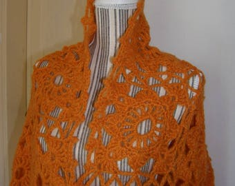 Orange Shawl, crochet wool