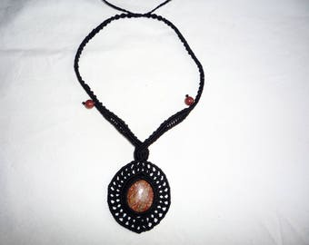 black macrame necklace with fossil stone