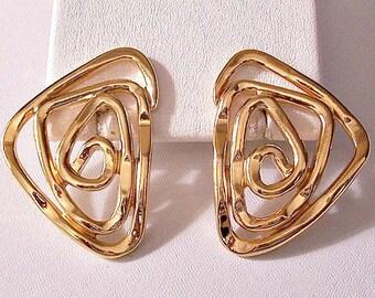 Open Spiral Arrow Pierced Post Stud Earrings Gold Tone Vintage Avon Large Flat Band Swirling Winding Big Discs