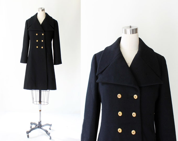 1960s Christian Dior Wool Peacoat // Vintage 60s Dior Saks Fifth Ave Wool Gold Button Coat  // Mint Condition // Medium