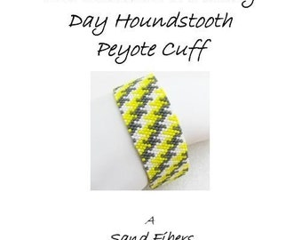 3 for 2 Program - Sunshine on a Cloudy Day Houndstooth Peyote Cuff  (extra long ) - For Personal Use Only PDF Pattern