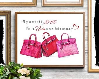 Hermes birkin, Birkin bag, Hermes bag, Hermes bag print, Hermes illustration, Hermes Birkin art, pink illustration, fashion illustration