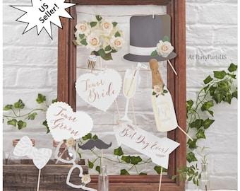 wedding photo booth props, team bride prop, team groom props, best day ever photo prop, rose gold foil, boho decorations, botanical decor