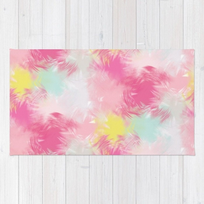 Woven Rug / Floor Mat - Blurred Blend Pattern - Pink Yellow Mint ...