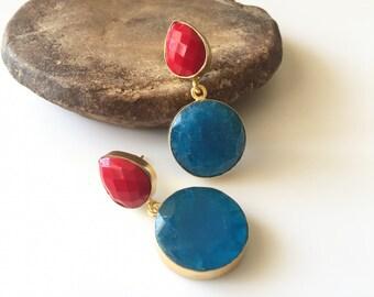 Red Onyx Earrings/True Blue Glass Earrings/Dangling Earrings/Statement Earrings/Brass Earrings - Costume Jewellery
