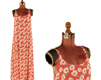 Vintage 1990's Rayon Crepe Daisy Grunge Dress Red + White Sleeveless A Line Long Floral Dress M