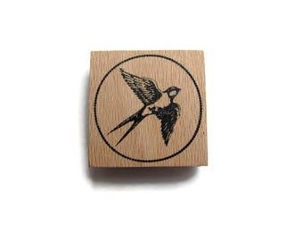 "Wooden ""Swallow"" Scrapbooking, deco rubber stamp"