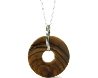 Wood Pendant on a Spectacular Sterling Silver Chain, Bethlehem Olive Wood Necklace, Waterproof Ring Armor Included