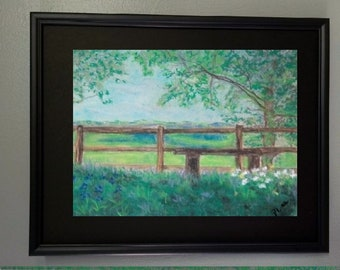 "Original Pastel Painting 8x10, Landscape Artwork, Fences in Art, ""Summertime"""