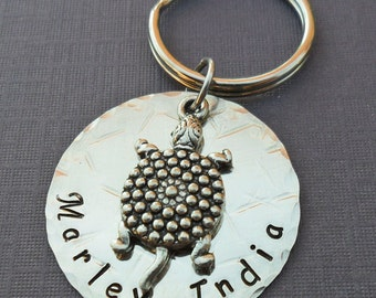 Personalized Turtle Metal Keychain- Hand Stamped Custom Gift - Turtle, Sea, Beach, Summer- Beach Wedding Gift- Save The Turtles- K59