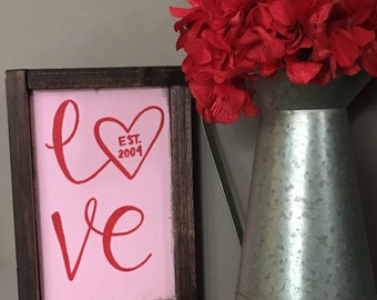 Customizable love sign-valentine sign-rustic valentine decor-red sign-valentines