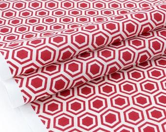 American fabric patterns geometric dark red background ecru x 50cm
