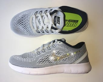 Bling Nike Free RN Running Shoes with Swarovski Crystals * Grey Black White  * Bedazzled w