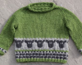 WEE SHEPHERD: PDF Fairisle Knitting Pattern for a baby/toddler jumper featuring sheep