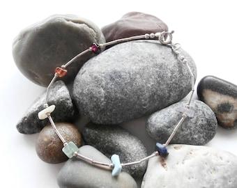 Silver Gemstone Bracelet - Vintage Jewellery - Multicoloured Bracelet - Gemstone Chip Beads