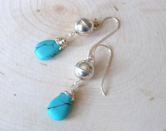 Blue Turquoise Earrings, Silver Gemstone Jewelry, Wire Wrapped Turquoise Teardrops, Southwestern Earrings, Sterling Silver Turquoise Gift