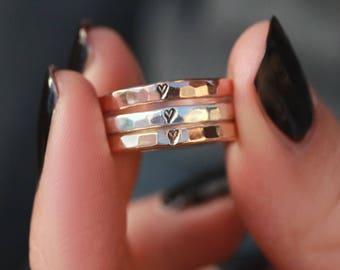 Rose Gold Heart Ring, Silver Heart Ring, Heart Band, Love Ring, Anniversary Band, Stack Band, Hammered Band, Wedding Ring, Bridesmaid Ring