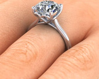 Forever One Moissanite Solitaire Engagement Ring  3.10 Carats Forever One  9.5mm Round Moissanite